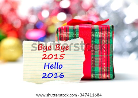 Bye Bye 2015 Hello 2016 Text on the background - stock photo