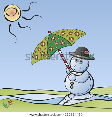 Bye-bye Winter: Melting snowman with umbrella in the sunlight symbolizing the end of winter - stock photo