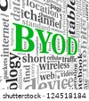 BYOD - bring your own device concept in tag cloud - stock