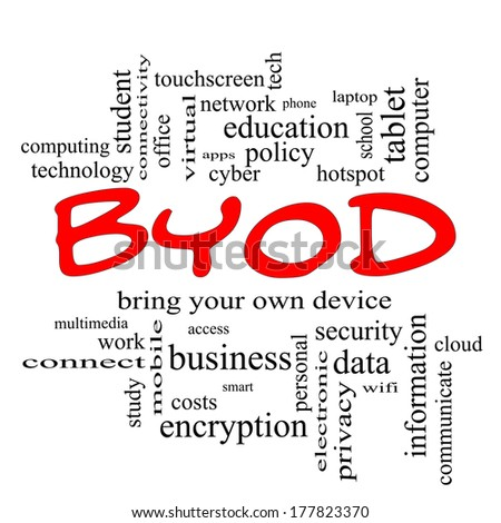 BYOD Word Cloud Concept in red caps with great terms such as bring, your, own, device and more.