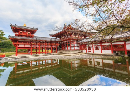 Byodo-in buddhist temple in autumn season against blue sky background at Kyoto, Japan