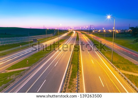 Bypass road of Tri city at dusk, Poland - stock photo