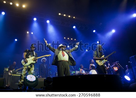 BYRON BAY, AUSTRALIA - APRIL 6 : George Clinton & Parliament Funkadelic play on the Mojo stage at the 2015 Byron Bay Bluesfest. 26th annual Blues and Roots festival. - stock photo