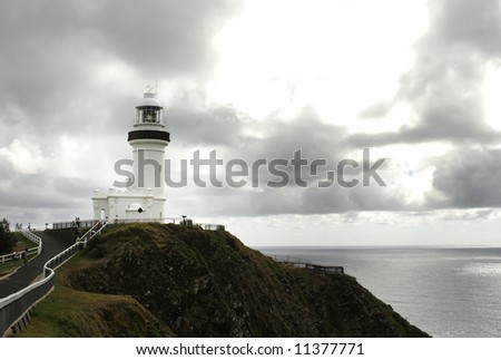 byron bay lighthouse in stormy weather