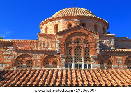 Byzantine architecture of medieval monastery building, Greece