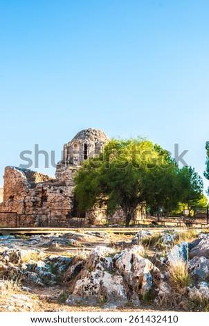 byzantine church inside the castle of Alanya, Antalya, Turkey - stock photo