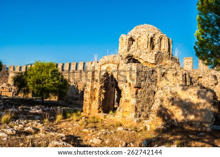 byzantine church inside the castle of Alanya, Antalya, Turkey - stock photo