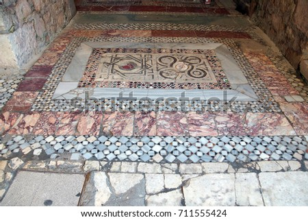 Byzantine mosaics on the floor of  St. Nicholas Church Demre,  Turkey