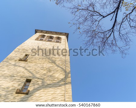 Byzantine style church tower with blue sky in winter, simple but beautiful.