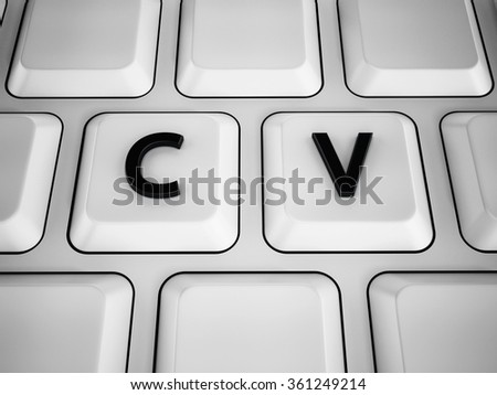 C and V  letters on white keyboard keys.