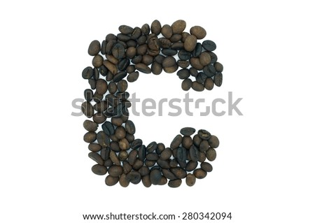 C, creative alphabet from coffee bean isolated on white background - stock photo