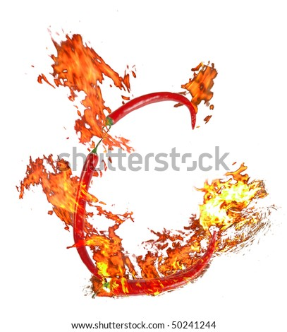 c letter made from chili, with clipping path