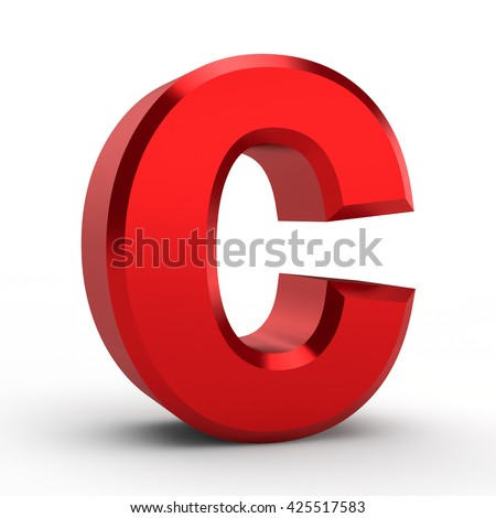 C red alphabet word on white background illustration 3D rendering