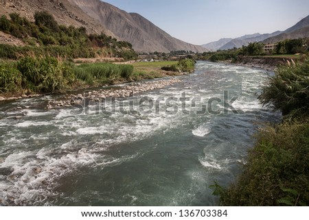 Ca�±ete river, a tipic river of the west peruvian coast. - stock photo