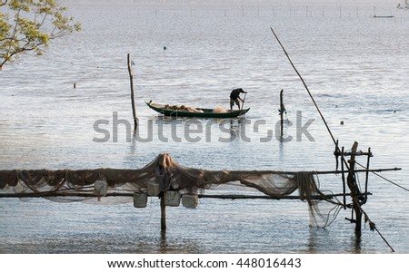CA MAU, VIET NAM, July 2, 2016 Fishermen, Ca Mau sea, Vietnam, fishing