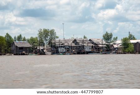 CA MAU, VIET NAM, July 2, 2016 floating cottages, waterways, sea Ca Mau, Vietnam