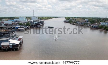 CA MAU, VIET NAM, July 2, 2016 speedboats, waterways, sea Ca Mau, Vietnam