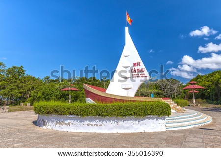 Ca Mau, Vietnam - April 7th, 2015: Milestone Southernmost point with boat-shaped monument with sails seaward territorial claims in the region Southernmost Ca Mau, Vietnam