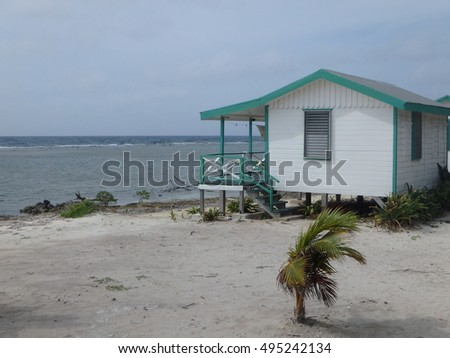 Cabana just a few feet from Belize waters.