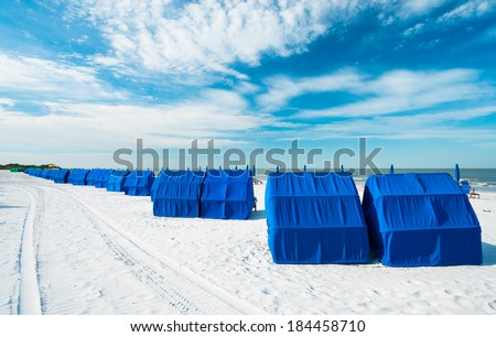 Cabanas along popular Fort Myers Beach on the west coast of Florida. - stock photo