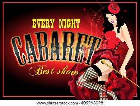 Cabaret dancer in a red corset. Retro  poster. - stock photo
