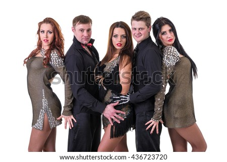 Cabaret dancer team dancing. Isolated on white background in full length.