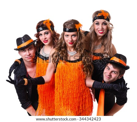 Cabaret dancer team dancing. Retro fashion style, isolated on white background.