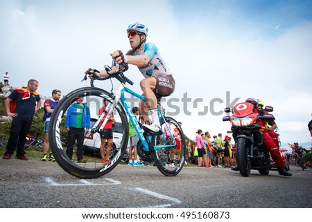 Cabarga, Spain - August 31, 2016. Cyclist Jan BAKELANTS climbing Cabarga port during the tour of Spain.