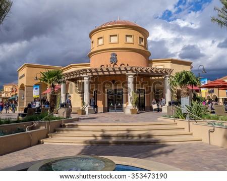 CABAZON, CA - NOV 2015: Desert Hills Premium Outlet Mall on November 15, 2015 in Cabazon California. Desert Hills Premium Outlet Mall is prime destination for tourists visting Palm Springs. - stock photo