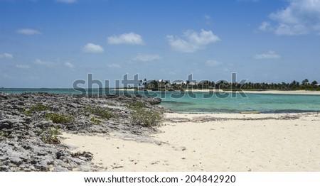 Cabbage Beach on Paradise Island in Nassau, Bahamas - stock photo