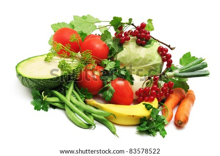 Cabbage, onions, zucchini, tomato, pea, carrot, banana isolated on white background.