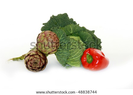 cabbage, pepper and aubergine