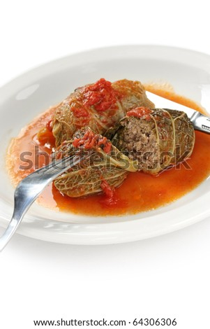 cabbage roll , stuffed cabbage with tomato sauce