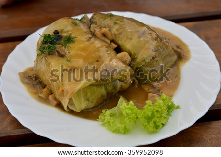 Cabbage rolls in sauce on white plate. Close-up.