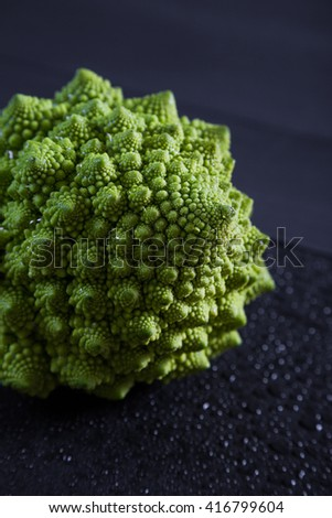 Cabbage romanesco on a dark background