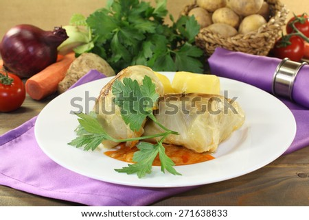 Cabbage roulade with potatoes on a napkin