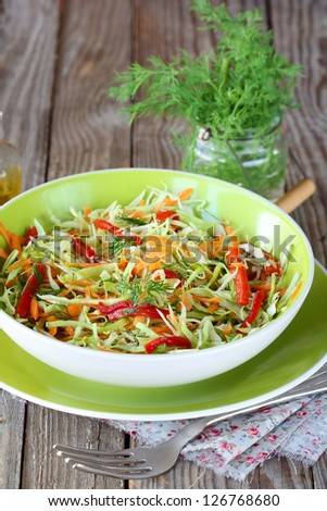 Cabbage salad with carrots and grilled pepper
