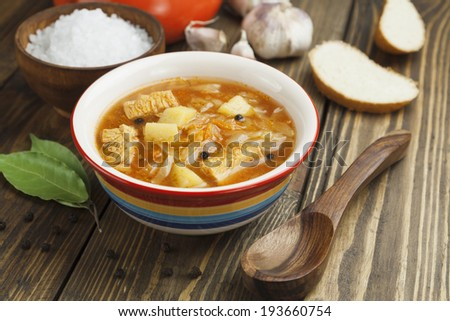 Cabbage soup on the table. Russian traditional dish