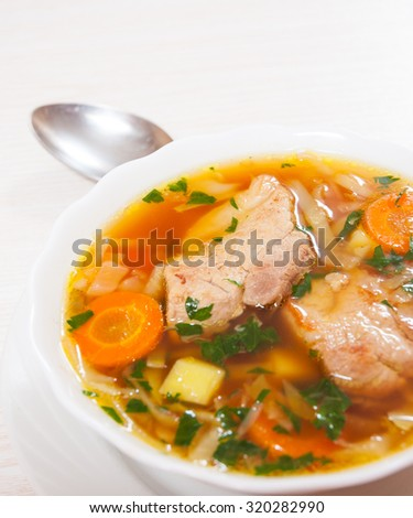 Cabbage soup with meat - stock photo