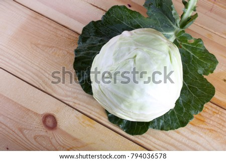 Cabbages on table