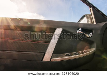 Cabin car door and sunlight in the sky - stock photo