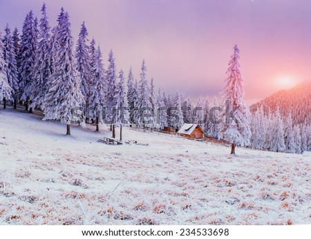 cabin in the mountains in winter  - stock photo