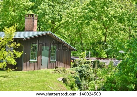 Cabin in the Woods at Harpers Ferry Town in West Virginia, USA - stock photo