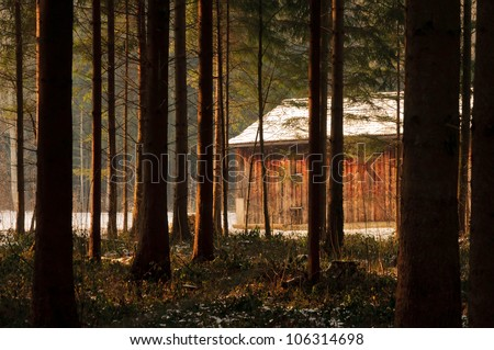 Cabin in the woods at sunset. - stock photo