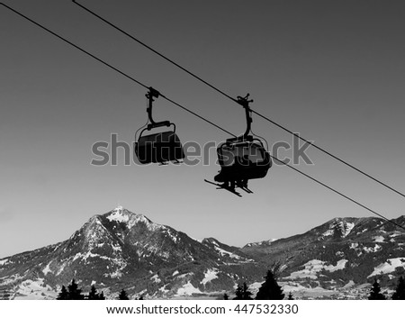 cabin lift in winter at ski resort - stock photo