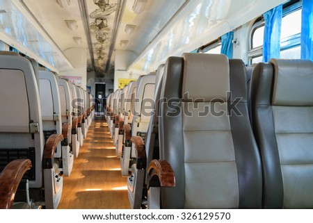 Cabin of a Public Thai Train Railway with seat
