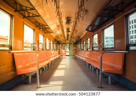 Cabin of a Public Thai Train Railway with seat , process in vintage style
