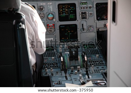 cabin of pilotage of an airplane