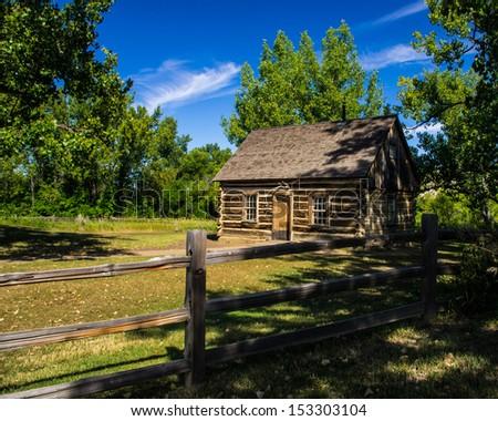 Cabin of Theodore Roosevelt's Maltese Cross Ranch - stock photo