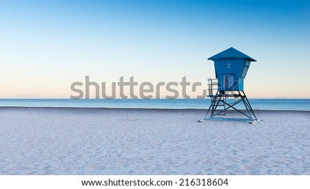 Cabin on the beach, California - stock photo